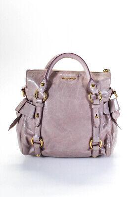 Miu Miu Womens Vitello Lux Leather Satchel Handbag Blush Pink LL19LL