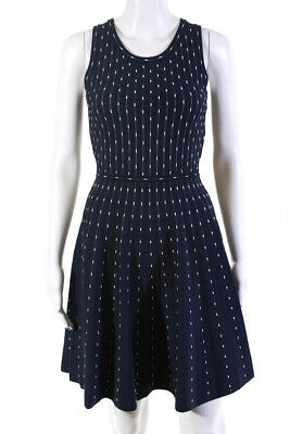Milly Womens Sleeveless Knit Printed Skater Day Dress Navy Blue Size Small