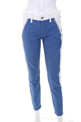 7 For All Mankind Womens Denim Side Striped Straight Leg Jeans Blue White Size 2 Blue 2 Straight Leg Jeans