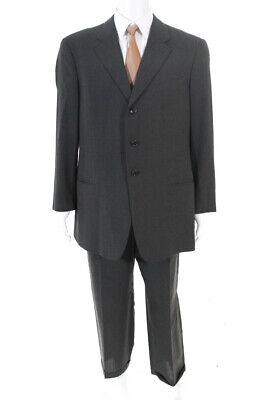 Armani Collezioni Mens Pinstriped Pleated Front Suit Grey White Size 44 Regular