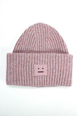 ACNE Studios Womens Pansy With Face Knit Beanie Hat Pink Wool One Size