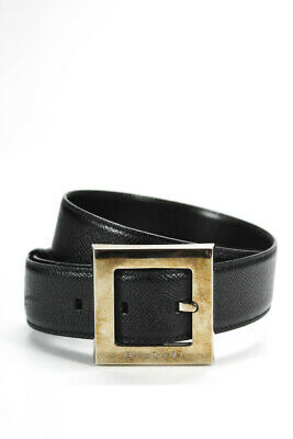 Bvlgari Womens Square Logo Buckle Textured Belt Black Leather Size Small