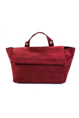Orciani Womens Pebbled Leather Flap Shoulder Bag Handbag Red