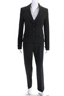 Tahari Womens Button Blazer Wide Leg Pants Suit Black Grey Size 8/6