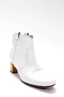 Laurence Dacade Womens Round Toe Wooden Block Heel Ankle Boot White Size 37 7