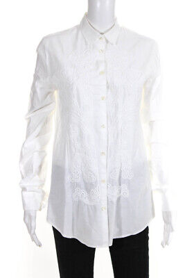 Etro Womens Embroidered Long Sleeve Button Up Blouse White Size IT 44