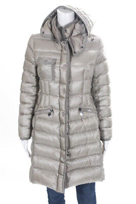 Moncler Womens Hooded Long Puffer Coat Gray Size 1