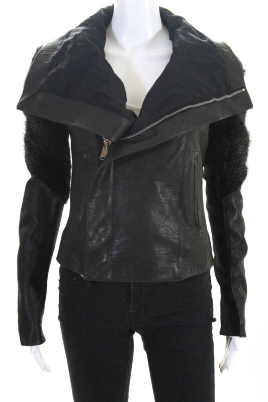 Rick Owens Womens Leather Beaver Fur Zip Up Jacket Size 8 LL19LL