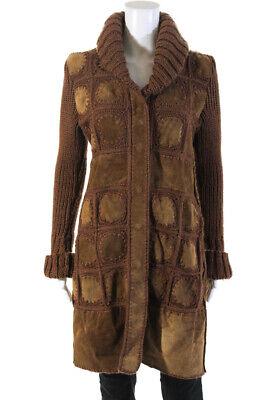 Luciano Abitboul Womens Button Down Crochet Knit Trim Jacket Brown Suede Medium