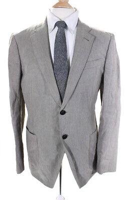 Armani Collezioni Mens Long Sleeve Two Button Jacket Light Brown Linen Size 46