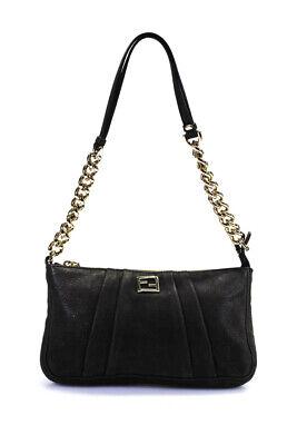 Fendi Leather Chain Link Pleat Detail Metallic Shoulder Handbag Gray