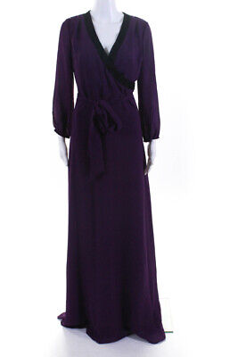 Belle Badgley Mischka Womens Belted Beaded Trim V Neck Gown Purple Black Size 4