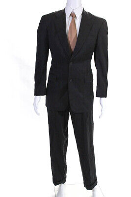 Burberry Mens Pleated Front 2 Button Suit Gray Pinstriped Wool Size 38R 32