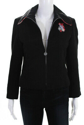 Oilily Womens Zip Up Long Sleeve Embroidered Jacket Coat Black Size EUR 34