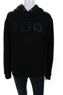 McQ by Alexander McQueen Womens Graphic Hooded Sweatshirt Black Size Medium