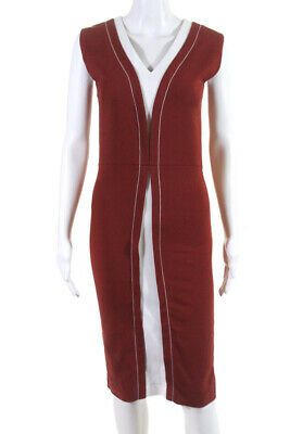 Hotel Particulier Womens Sleeveless V Neck Sheath Dress Orange Size 36