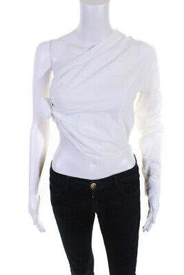 Jacquemus Womens Cotton One Sleeve Side Knot Top White Size 34