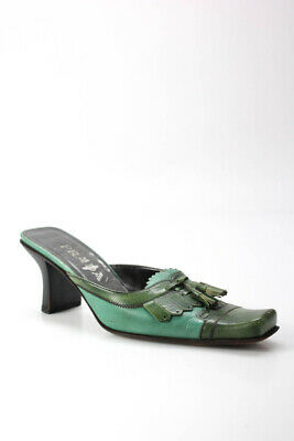 Prada Womens Vintage Two Tone Slim Heel Leather Mules Green Blue Size 39.5 9.5