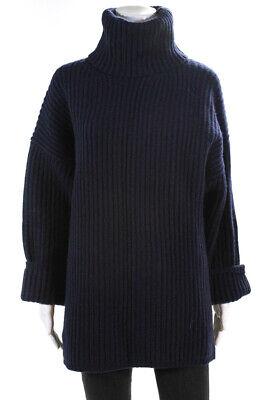 ACNE Studios Womens Wool Rib Knit Turtleneck Sweater Navy Blue Size XS