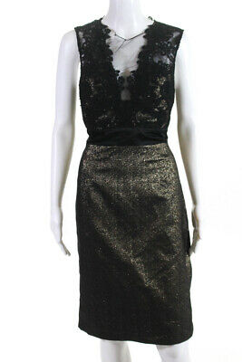 Theia Womens V Neck Sleeveless A Line Skirt Black Gold Lace Size 10