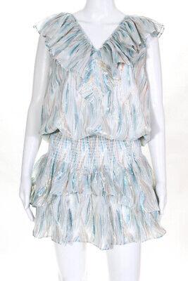 Ramy Brook Womens Silk Casey Dress Ivory Blue Size Extra Large