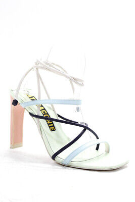 Kat Maconie Womens Square Toe Strappy Block Heeled Sandals Mint Leather Size 9