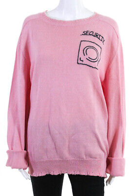 Riccardo Comi Womens Security Embroidered Distressed Sweater Shirt Pink Size L