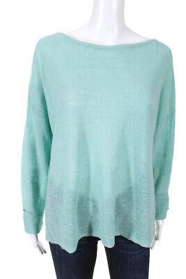 Eileen Fisher Womens Scoop Neck Long Sleeve Sweater Shirt Blue Linen Size Medium