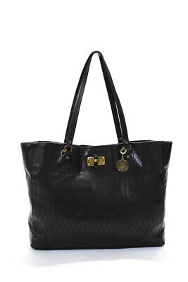 Lanvin Large Coin Charm Toggle Closure Embroidered Tote Handbag Black Leather