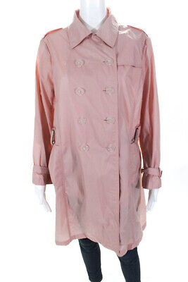 Jil Sander Womens Double Breasted Button Down Trench Coat Pink Size EUR 40