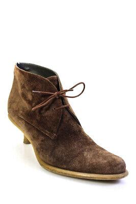Miu Miu Womens Suede Chelsea Boot Kitten Heel Brown Size 39 8.5