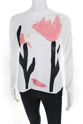 Marni Womens Long Sleeve Crew Neck Open back Blouse White Size 40