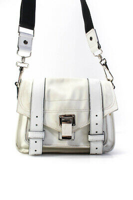 Proenza Schouler Womens PS1 Leather Trim Nylon Flip Lock Crossbody Handbag White