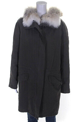 Army Yves Salomon Womens Coat Green Coyote Trim Rabbit Fur Lined Size 38