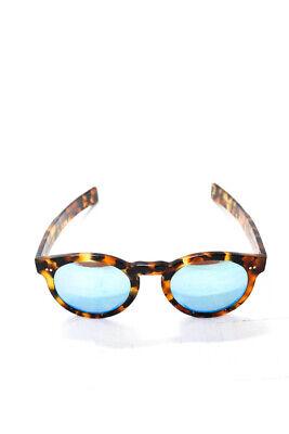 Illesteva Womens Round Mirrored Tortoise Print Sunglasses Blue Lenses