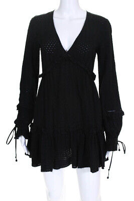 Jonathan Simkhai Womens Embroidered Ruffle V-Neck Dress Black Size Small 1152477