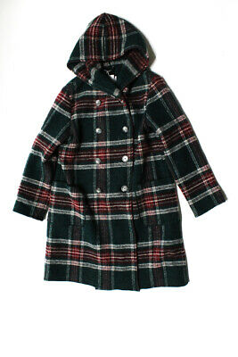 Il Gufo Childrens Girls Plaid Hooded Button Down Coat Green Red Wool Size 12