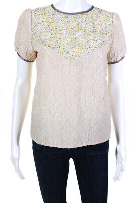 Rodarte + Opening Ceremony Womens Floral Print Blouse Beige Size Small