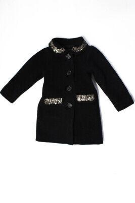 Lili Gaufrette Girls Long Sleeve Embellished Collar Peacoat Black Size 4Y