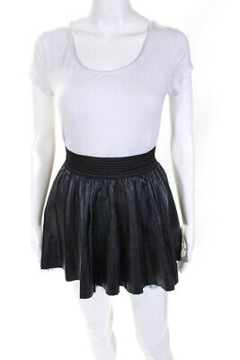 Parker Womens A-Line Above Knee Casual Skirt Black Leather Size Extra Small