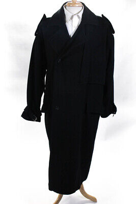 Gianni Versace Mens Vintage Button Up Collared Long Wool Coat Black Size XL