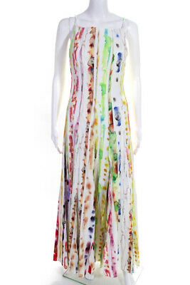 Rosie Assoulin Womens Million Pleats Watercolor Maxi Dress White Size 2