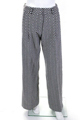 House of Holland Womens Geometric Contrast Flare Pants Black White Size 4 LL19LL