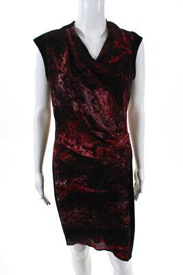 Helmut Lang Womens Zipper Back V Neck Mini Dress Black Red Size 6
