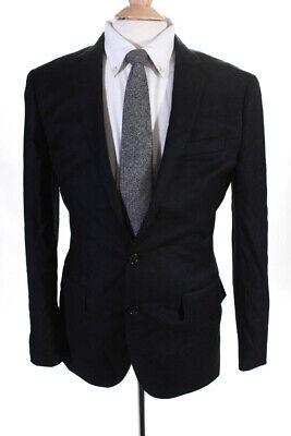 J Crew Mens Two Button Notched Lapel Blazer Jacket Black Wool Size 38 Shorts