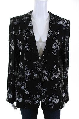 Giorgio Armani Womans Vintage Blazer Top Stitched Floral White Black Size 8