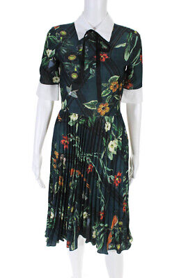PatBO Womens Collared Floral Short Sleeve Pleated A Line Dress Green Size 2