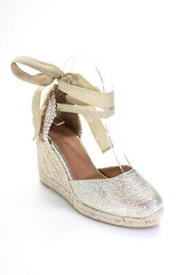 Castaner Womens Metallic Canvas Lace Up Wedge Sandals Gold Size 37 7