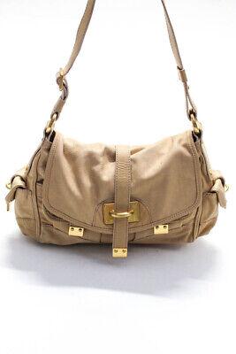 Nicoli Womens Single Strap Double Pocket Front Shoulder Handbag Beige Leather
