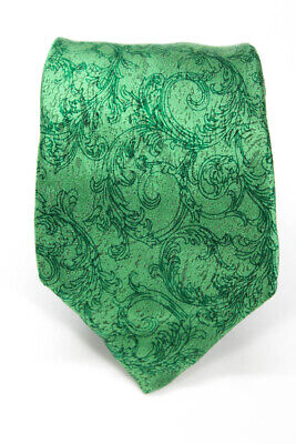 Versace  Mens Classic Tie Bright Green Abstract Print Silk One Size